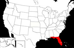 Location of Florida on USA Map