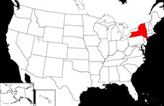 Location of New York on USA Map